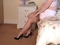 an elderly woman dressed in different underwear