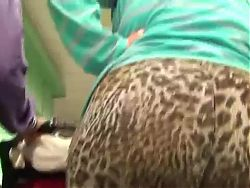 Big candid ass in leopard spandex
