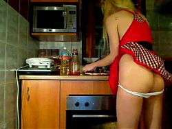 Naughty lady Bare Arse in Kitchen