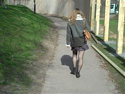 Student upskirt in sheer tights (panty hose)