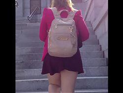 Following blonde upskirt at steps