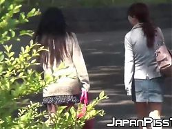 Japanese lady cant hold pee in and wets herself in public