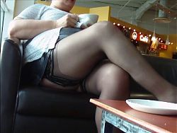 Voyeur stockings and upskirt