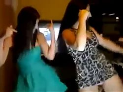Two Brazilian girls dancing funk of dress